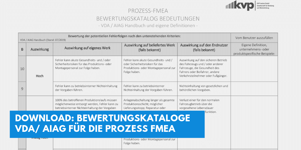 Download: Bewertungskataloge  VDA/ AIAG für die Prozess FMEA